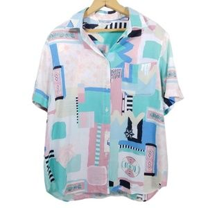 Vintage 80s 90s Pastel Abstract Button Down Top
